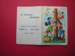 PETIT CALENDRIER  1963  2 VOLETS   WALT DISNEY MICKEY DINGO  BUCHERON AMATEUR  PUB LE BAGAGE MODERNE  PARIS 14 e 104 AV