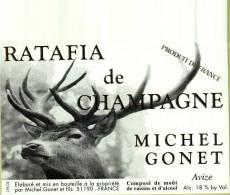 Etiquette  - Ratafia De   Champagne    (Tête De Cerf)   Michel Gonet   Avize  51 - Labels