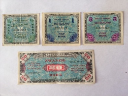 LOT OF 5 ALLIERTE MILITARBEHORDE 1944 1/2 1 5 20 MARK CIRCULATED - [ 5] 1945-1949 : Allies Occupation