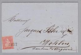 Heimat FR Avry 1873-12-29 Langstempel Gr.43 Brief Nach Wohlen Zu#38 Sitzende Helvetia - 1862-1881 Helvetia Assise (dentelés)