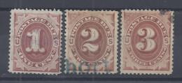 ETATS-UNIS - 1879 - TAXE N° - 1/2/3 - OBLITERE - B/TB - - 1847-99 Unionsausgaben