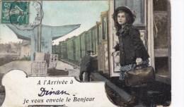A L Arrivée DINAN Je Vous Envoie Le Bonjour  ( Train Chef De Gare  ... ) Circulée Timbrée 1911