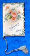 Petit calendrier, Almanacco 1905, pasticceria 5 Vie, Fratelli Invernici, Milano, fleurs, couverture gaufr�e, 12 pages
