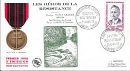 Les  Héros De La Résistance Gaston Moutardier 25 Avril 59 COMINES (NORD) - FDC