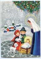 JOYEUX NOËL - Un Couple D'enfants Présente Des Agneaux à Jésus Dans Sa Crèche Marie Mains Jointes - Non écrite - 2 Scans - Noël