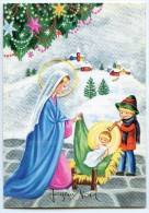 JOYEUX NOËL - Un Enfant Joue Du Hautbois Pour Jésus Dans Sa Crèche, Guirlandes Au Sapin - Non écrite - 2 Scans - Noël