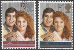 Great Britain. 1986 Royal Wedding. Used Complete Set. SG 1333-1334 - 1952-.... (Elizabeth II)