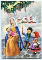 JOYEUX NOËL - Vierge Marie Tient Jésus Sur Ses Genoux, Deux Enfants Le Contemplent, Village Neige - Non écrite - 2 Scans - Noël
