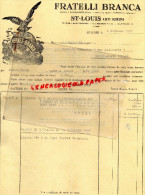68 - SAINT LOUIS - FACTURE FRATELLI-BRANCA- FERNET BRANCA- 1957 - Frankreich