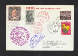 Lettera Giro Aereo Di Sicilia 1955 - 6. 1946-.. Republik