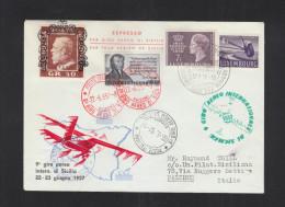 Lettera Giro Aereo Di Sicilia 1957 - 6. 1946-.. Republik