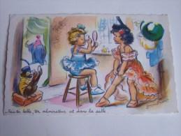 BOURET GERMAINE N0 1206 M.D PARIS LOGE D ARTISTES ENFANTS FILLETTES SINGE - Bouret, Germaine