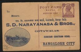 India  KG VI   Vintage Car Printed 1/2A Unused Postal Stationary Post Card ..Some Spots.. # 88176  Inde Indien - Entiers Postaux