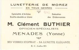 MENADES  ... CARTE COMMERCIALE .... CLEMENT BUTHIER ... OPTICIEN SPECIALISTE - France