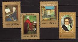 State Of Oman °-  Used . 3 Mozart  + 1 Beethoven  Oblitérés    Vedi Descrizione - Oman