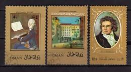 State Of Oman °-  Used .  Mozart  + 1 Beethoven  Oblitérés    Vedi Descrizione - Oman