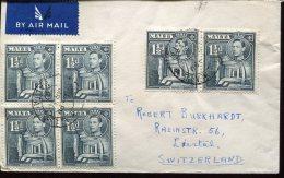2054 Malta, Circuled Cover  1947 To Switzerland - Malte