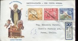2057 Malta, Circuled  Registered Cover  1954 To Italy - Malte