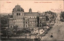 ! Alte Ansichtskarte Aus Pilsen, Theater Und Ferdinandstraße, 1914, Plzen, Theatre - Tchéquie