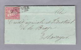 Heimat FR DOMINDIER 1870-08-27 Eingefasster Lang-Stempel Auf Brief Nach Estavayer - Lettres & Documents