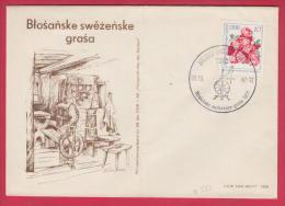192116 / 1987 FDC -  BURG BORKOWY 7502 -  Blosanske Swezenske  Grasa , POLAND , FLOWER , Spinning Wheel , DDR Germany - DDR
