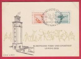 192134 / 1959 FDC - Deutsches Turn- Und Sportfest Leipzig Gymnastik Mit Reifen Hochsprung Weightlifting  DDR Germany - [6] Democratic Republic