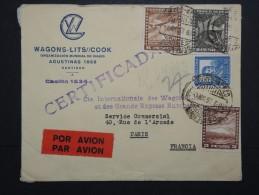 CHILI - Enveloppe Pour La France En 1937 Par Avion ( étiquette) - Aff. Plaisant - A Voir - Lot  P13612 - Chili