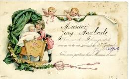 FAIRE PART DE NAISSANCE - Bébé Ange Berceau 1906 - Naissance