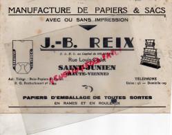 87 - SAINT JUNIEN - BUVARD MANUFACTURE PAPIERS & SACS- J.B. REIX- RUE LOUIS CODET - - Papeterie