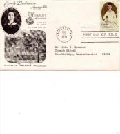 USA 1971-Emily Dickinson-The Mansion, Amherst. Biographie à L'intérieur (inside The Envelope) - FDC