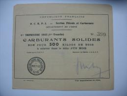 Rationnement Bon Pour 500 Kilogs De Bois 1945 Orne - Historische Dokumente