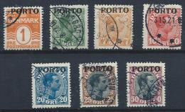 Danemark 1921 Taxe N° 1/7 Oblitérés Christian X Surchargés - Port Dû (Taxe)
