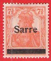 MiNr.5 X (Falz) Deutschland Deutsche Abstimmungsgebiete  Saargebiet - 1920-35 Saargebiet – Abstimmungsgebiet