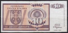 7581. Croatia, Republic Of Serbian Krajina, 1992, Banknote Of 10 Dinars - Kroatien