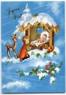 JOYEUX NOËL - Enfant à Genoux Devant La Crèche De Jésus, Faon écureuil Oiseaux Houx Neige - Non écrite - 2 Scans - Autres