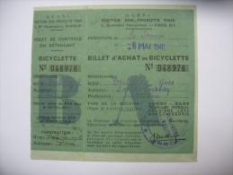 Rationnement Billet D'achat De Bicyclette - Historische Dokumente