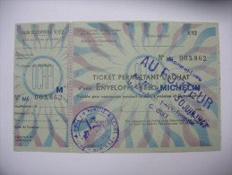 Rationnement Ticket Permettant L'achat D'une Enveloppe Velo Michelin - Historische Dokumente