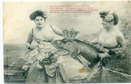 BERGERET - Femmes Avec Un Poisson Couronné - Ce Poisson Habitait Dans Le Lac De Mon âme...... - Bergeret