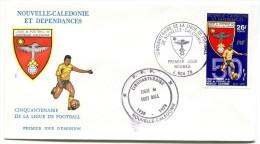 Nouvelle Calédonie - FDC Yvert 423 - Football + Commémoratif FFF - R 1954 - FDC
