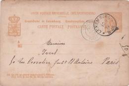 LUXEMBOURG 1879. CARTE ENTIER 10c. ENTRÉE FRANCE BLEUE LUXEMBOURG PARIS  / 6620 - Luxemburg
