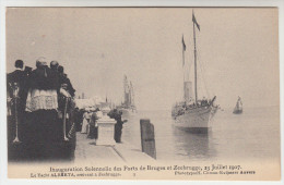 Inauguration Solenelle Des Ports De Bruges Et Zeebrugge, 23 Juillet 1907, Le Yacht Albeta Arrivant A Zeebrugge (pk26098) - Zeebrugge