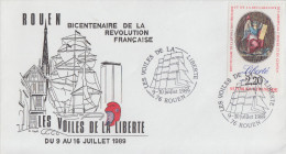 Enveloppe  Bicentenaire  De  La   REVOLUTION   LES  VOILES  DE  LA  LIBERTE     ROUEN    1989 - Révolution Française