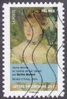Oblitération Moderne Sur Autoadhésif De France N°  674,Art - Peinture - Jeune Femme En Toilette De Bal Par B. Morisot - France