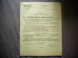 LE MINISTRE DE L´INTERIEUR CIRCULAIRE DU 14 OCTOBRE 1946 ELECTIONS DES MEMBRES DE L'ASSEMBLEE NATIONALE - Historical Documents