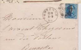 LETTRE  N°15 P 90 OSTENDE Du 5/9/1863 /12M Vers BRUXELLES Arrivée FACTEUR (18) Très Jolie - 1863-1864 Médaillons (13/16)