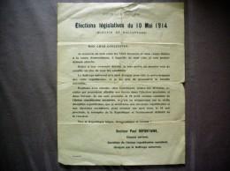 ELECTIONS LEGISLATIVES DU 10 MAI 1914 SCRUTIN DE BALLOTAGE TRACT DU DOCTEUR PAUL DEFONTAINE DEPUTE SORTANT - Historische Dokumente
