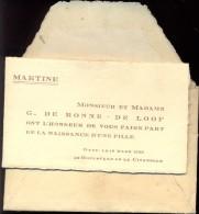 Devotie Geboortekaartje Martine De Ronne - Gand Gent 10 Maart 1938 - Naissance & Baptême