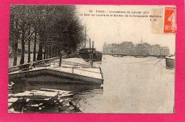 _75 Paris Le Quai Du Louvre Et Le Bureau De La Cie Maritime, Inondation 1910, - Inondations De 1910