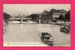 75 Paris Vue De La Seine Et Du Quai D´Orsay Et Notre-Dame, Bateaux Mouches, 1912, (Ed L. L. ) - Métro Parisien, Gares