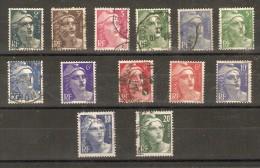 France - Marianne De Gandon - Petit Lot De 13 Timbres - 1945 à 1947 - 1945-54 Marianne Of Gandon